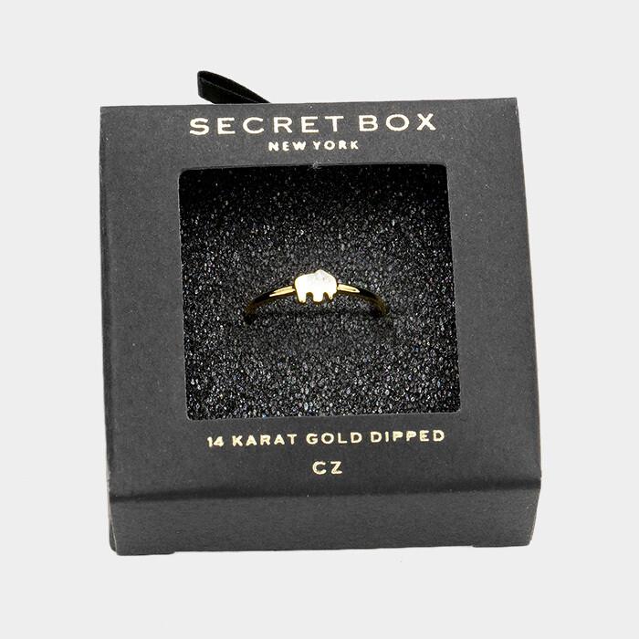 14K Gold Dipped CZ Elephant Ring