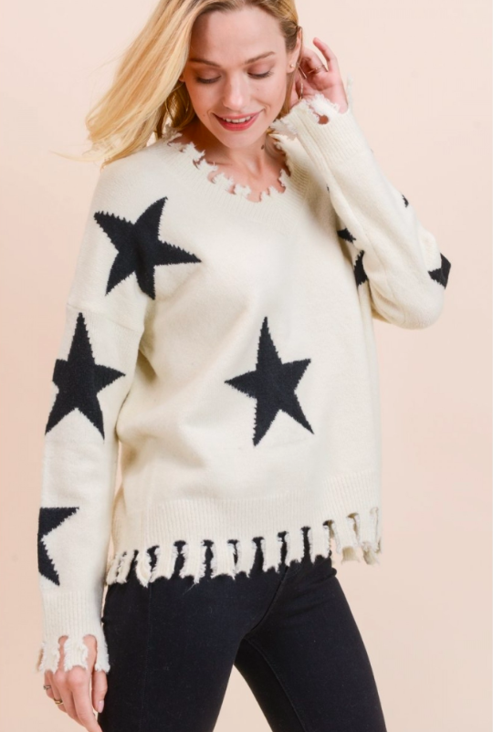 S1300-IVORY SUPER SOFT STAR SWEATER
