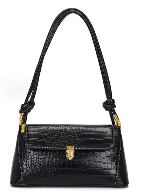 Black  Faux Croc Gold Hardware Shoulder Bag