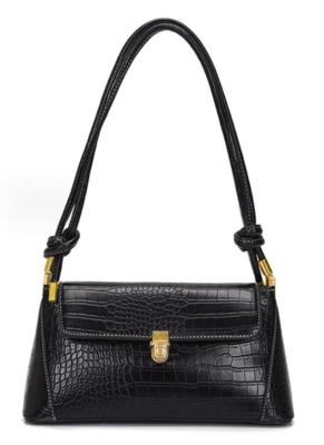 Black  Faux Croc Gold Hardware Shoulder Bag
