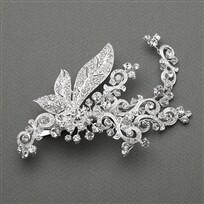 Slv Plated Art Nouveau Crystal Bridal Hair Clip