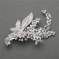 Slv Plated Art Nouveau Crystal Bridal Hair Clip