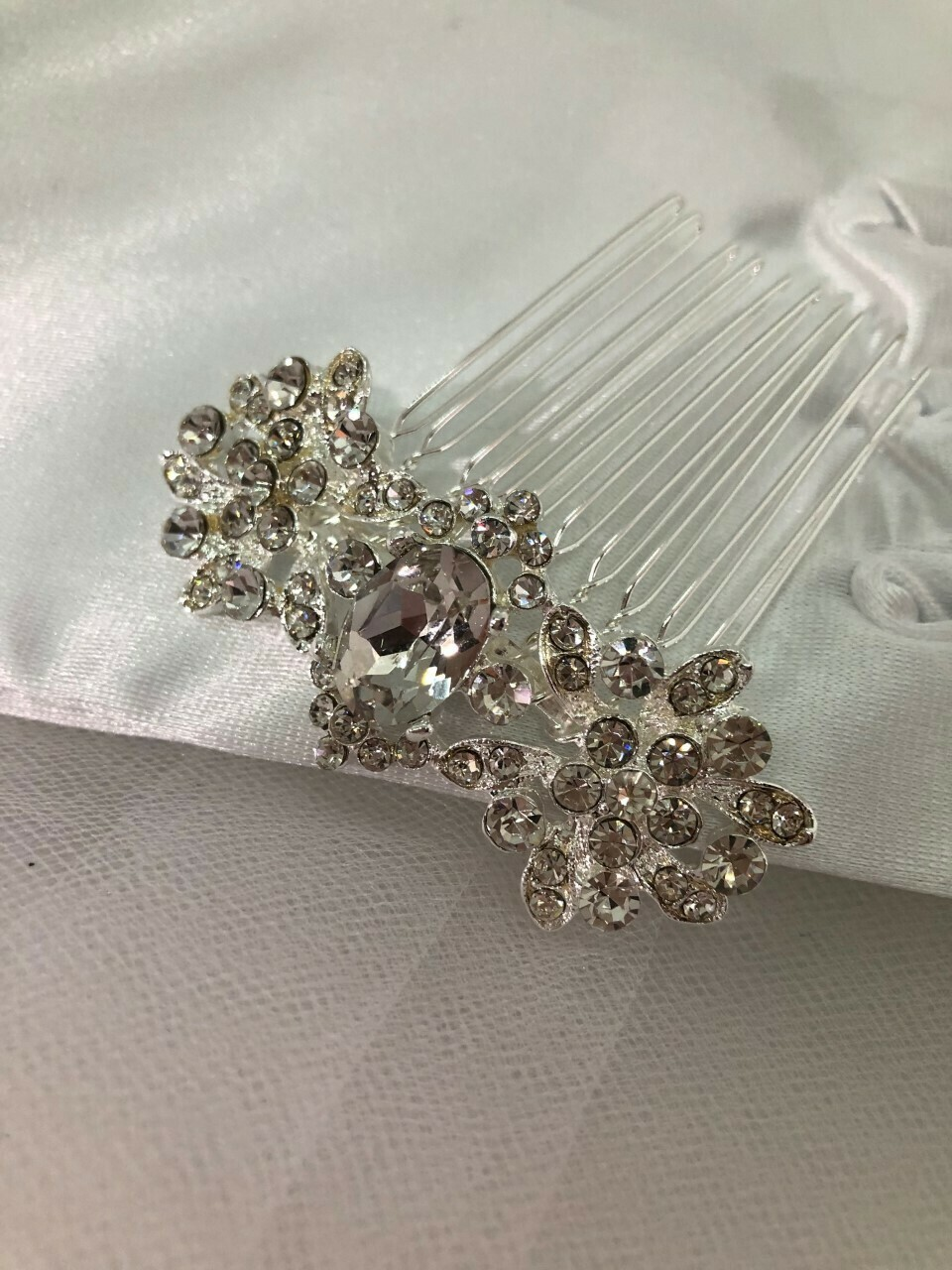 Silver Crystal Art Deco Small Hair Comb