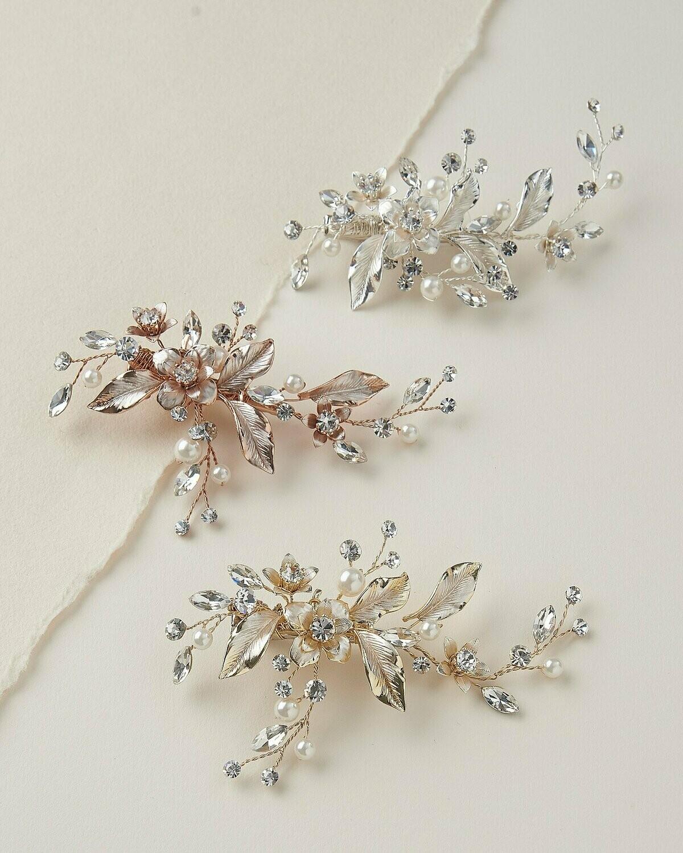 Petite Pearl & Floral Wedding Clip