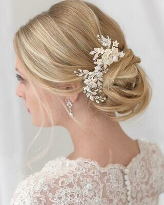 Ivory Floral Hair Comb