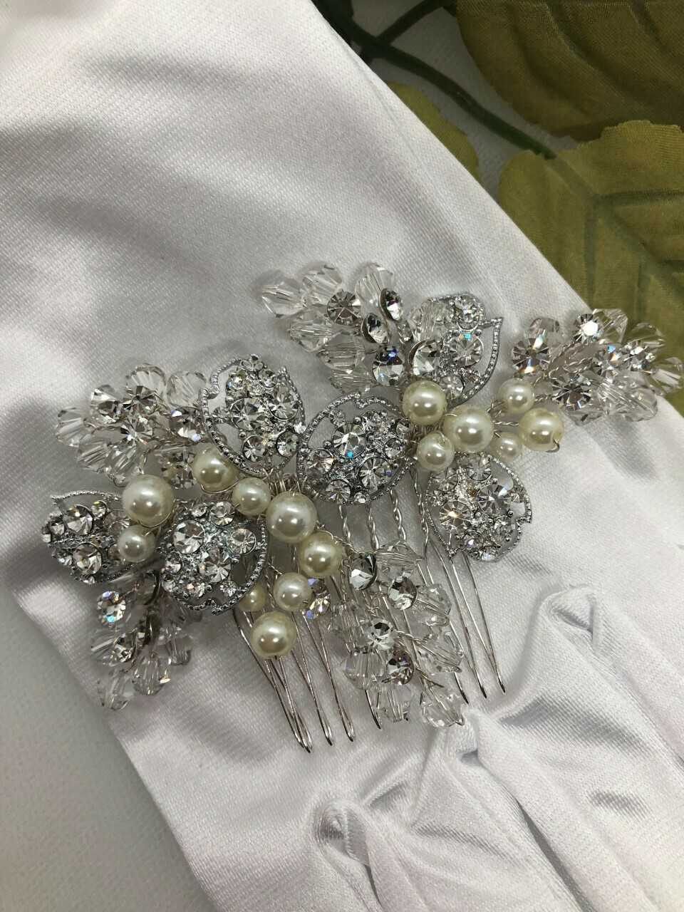 Handmade Crystal Faux Pearl Hair Comb
