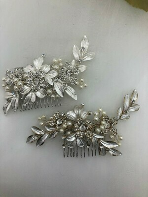 Brushed Leaves Crystal Pearl Hair Comb