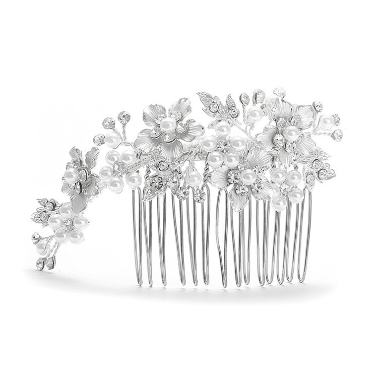 Swarovski Crystal Brushed Silver and White Pearl Hair Comb