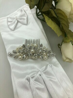 Beautiful Crystal Large Pearl Straight Hair Comb
