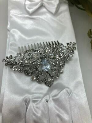 AAA Pear CZ Art Deco Hair Comb