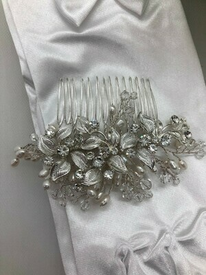 Silver Leaf Crystal Freshwater Pearl Hair Comb