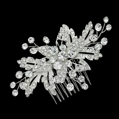 Glistening Floral Crystal Hair Comb