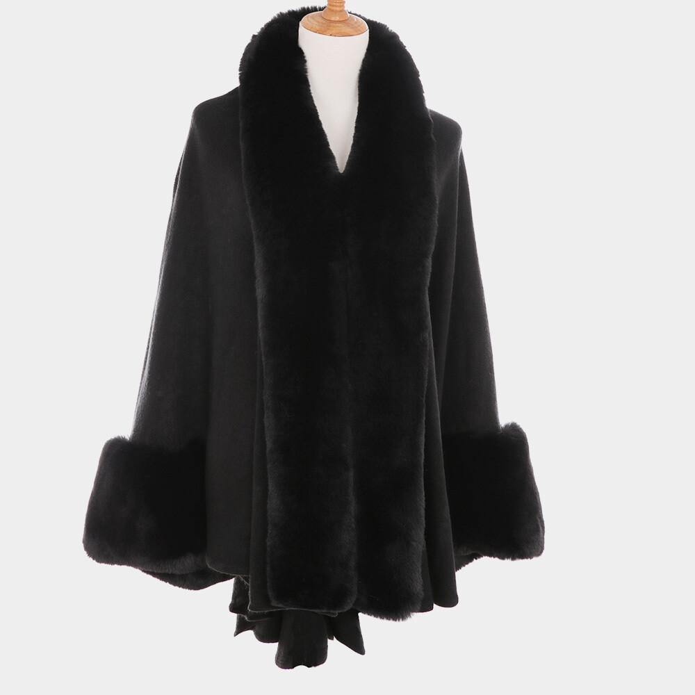 S6110 Faux Fur-Trim Cape Poncho