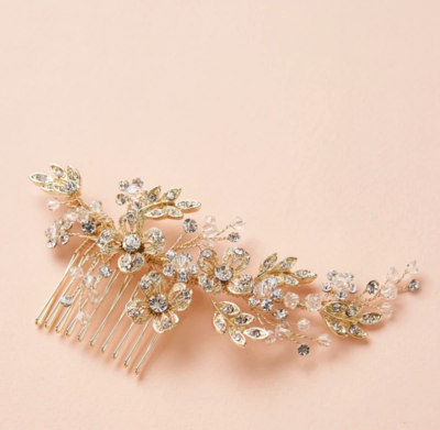 Open Floral Crystal Hair Comb