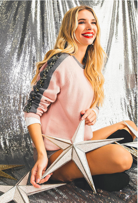 Pink Sequin Stripe Color Block Sweater