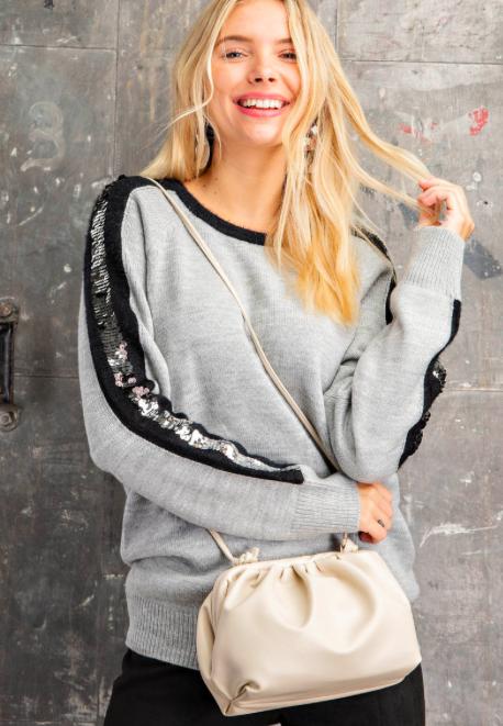 Grey Sequin Stripe Color Block Sweater