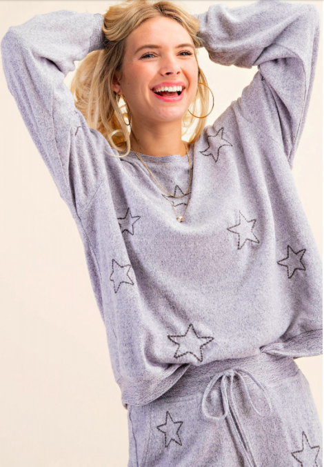 Soft Cozy Star Embroidered Lounge Top