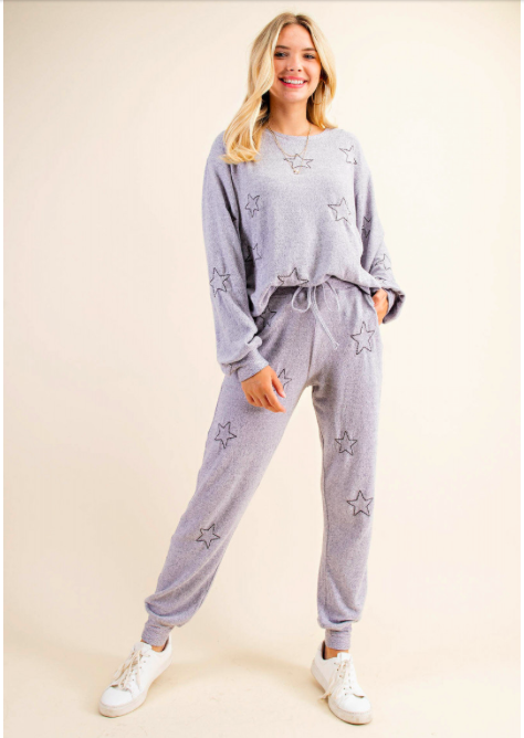 Soft Cozy Star Embroidered Lounge Pant