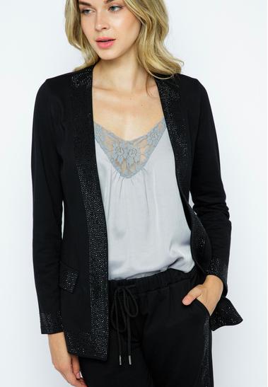 Embellished Long Sleeve Black Jacket
