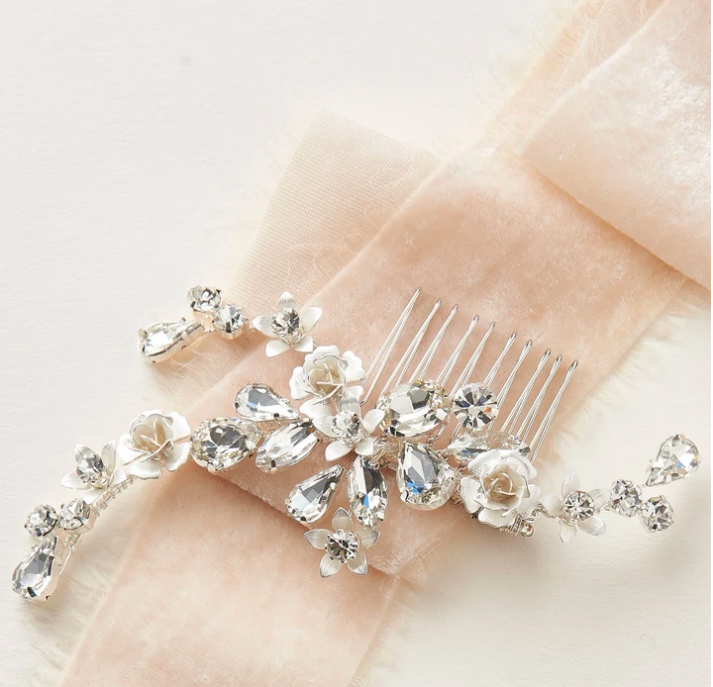 Glistening Floral Branch Hair Comb