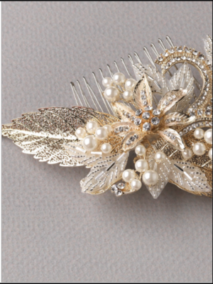 Gold Leaf Crystal Pearl Hair Comb