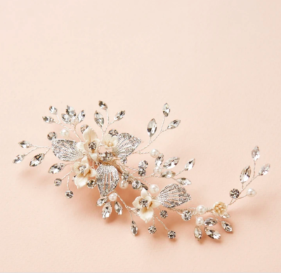 Floral Marquise Crystal Pearl Hair Clip