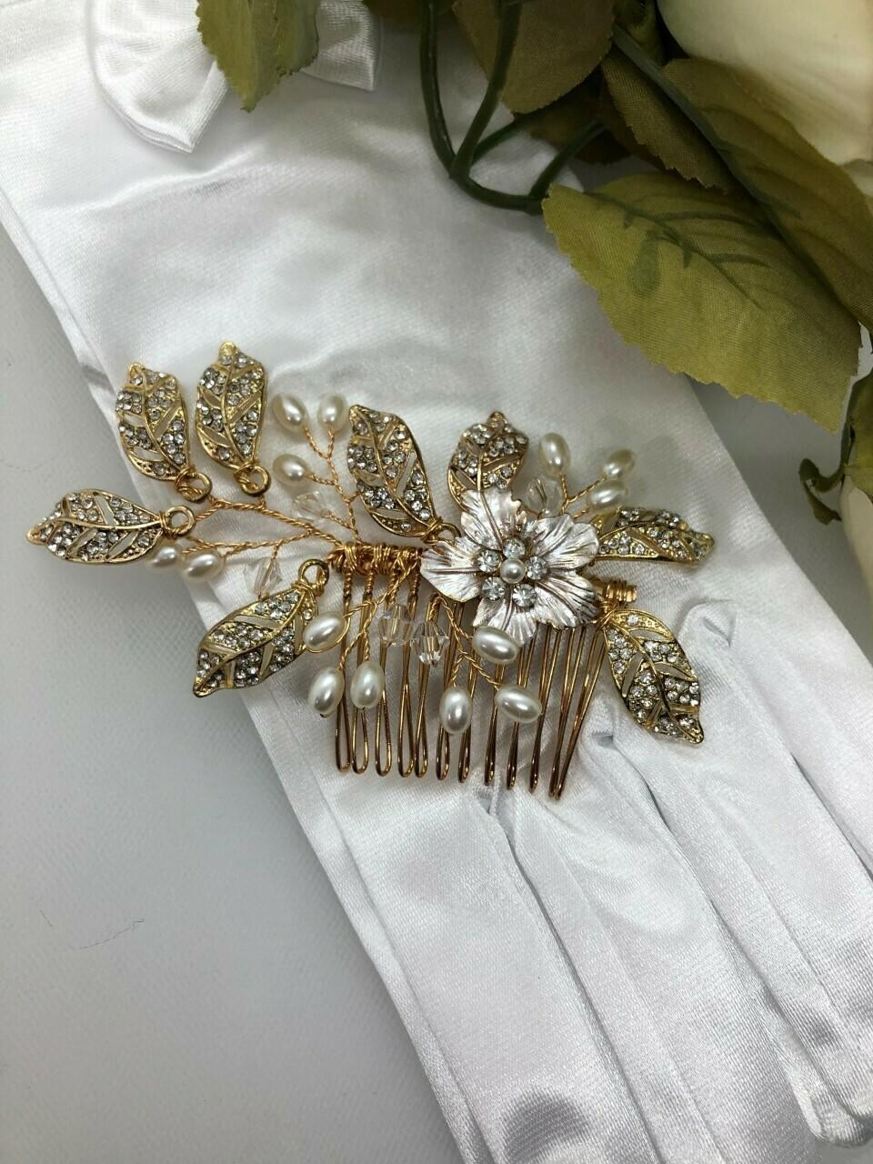 Gold Botanical Center Brushed Flower Hair Comb