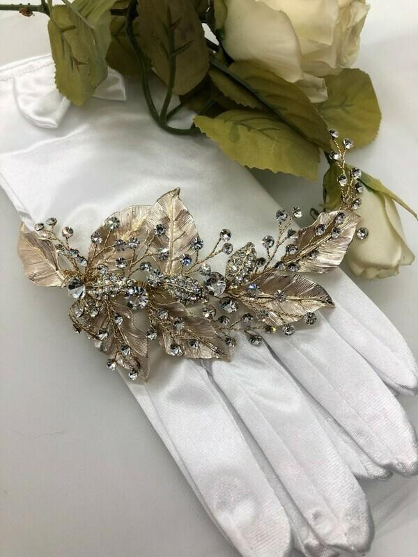 Dramatic Gold Leaf Crystal Hair Clip