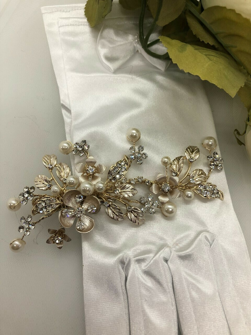 Gold Crystal Pearl Brushed Flower Hair Clip