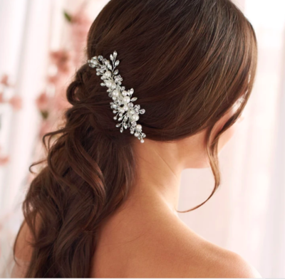Clear Crystal Floral Pearl Hair Comb