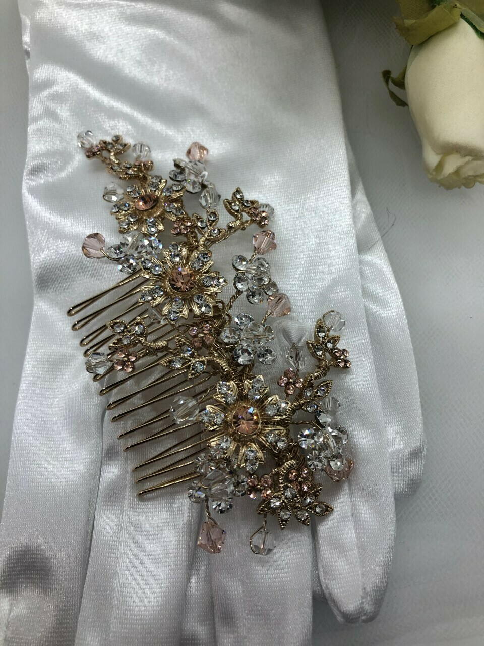Gold Hair Comb Clear & Rose Gold Crystals