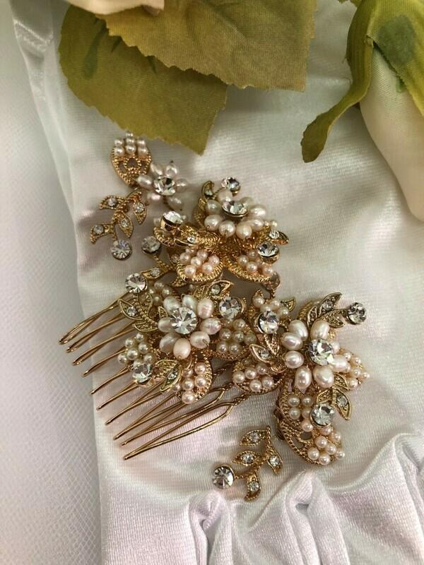 Vintage 3D Gold & Real Pearl Swarovski Crystal Hair Comb