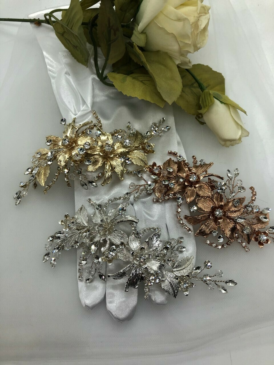 Brushed Floral Leaf Statement Hair Clip