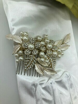 Brushed Leaves/Pearl Gold Floral Hair Comb