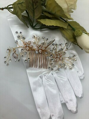 Delicate Gold/Rose Gold Crystal Pearl Spray Hair Comb