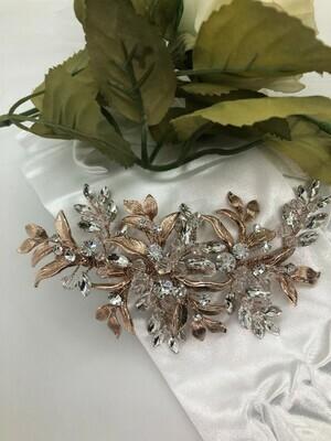 Rose Gold Crystal & Leaf Hair Clip