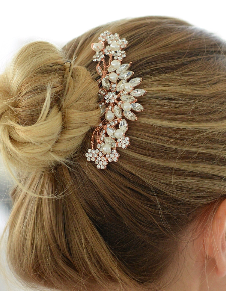 Crystal Pearl Floral Burst Hair Comb