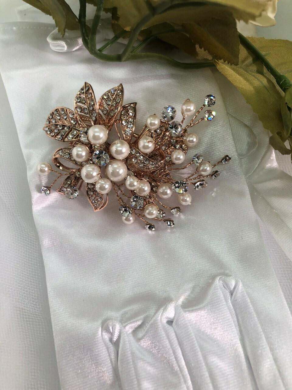 Petite Rose Gold Pearl Crystal Hair Clip