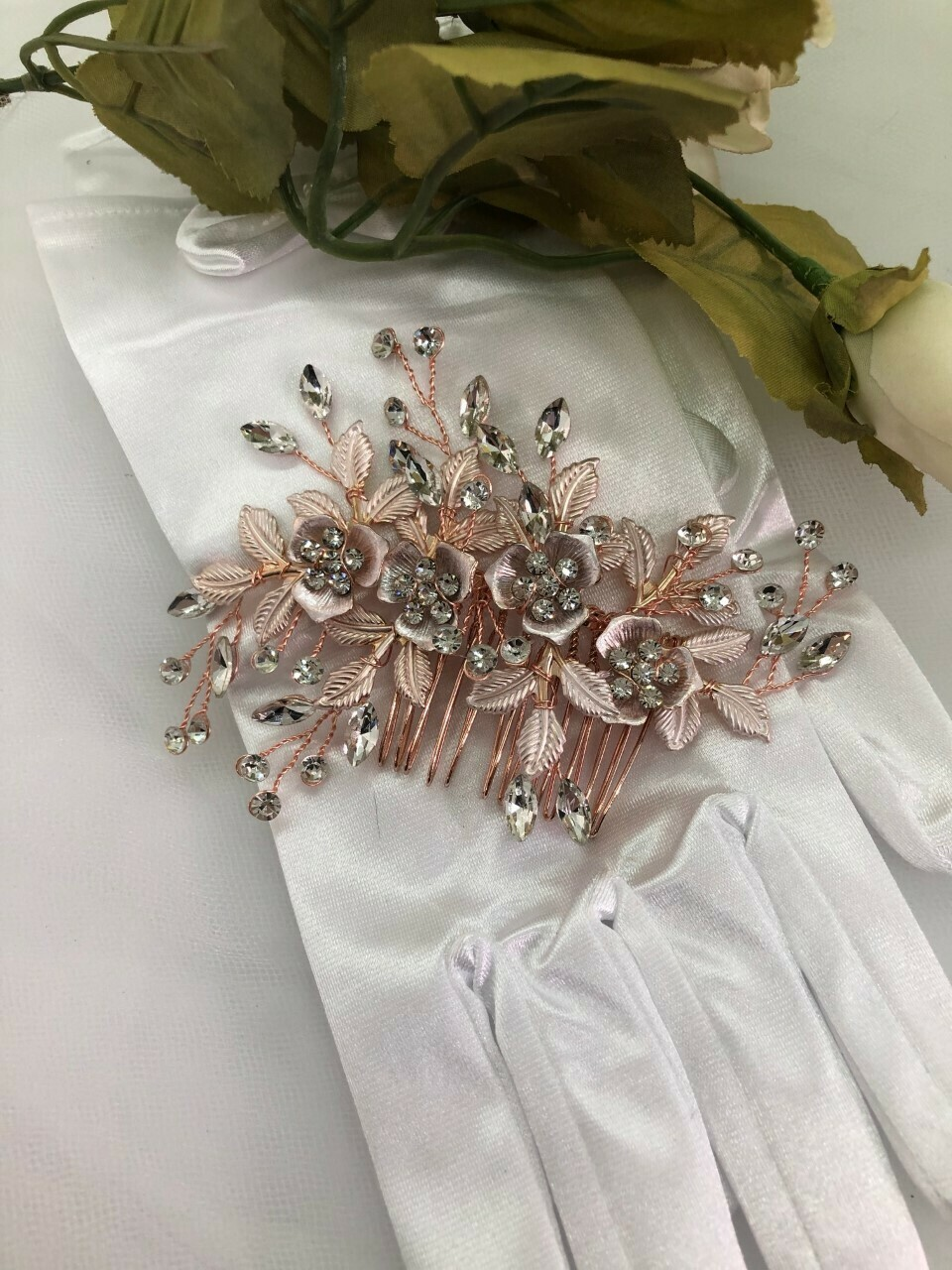 Blush Pink Floral Crystal Whimsical Hair Comb