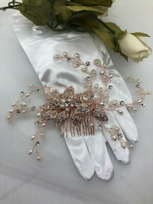 Rose Gold Statement Crystal Pearl Hair Comb