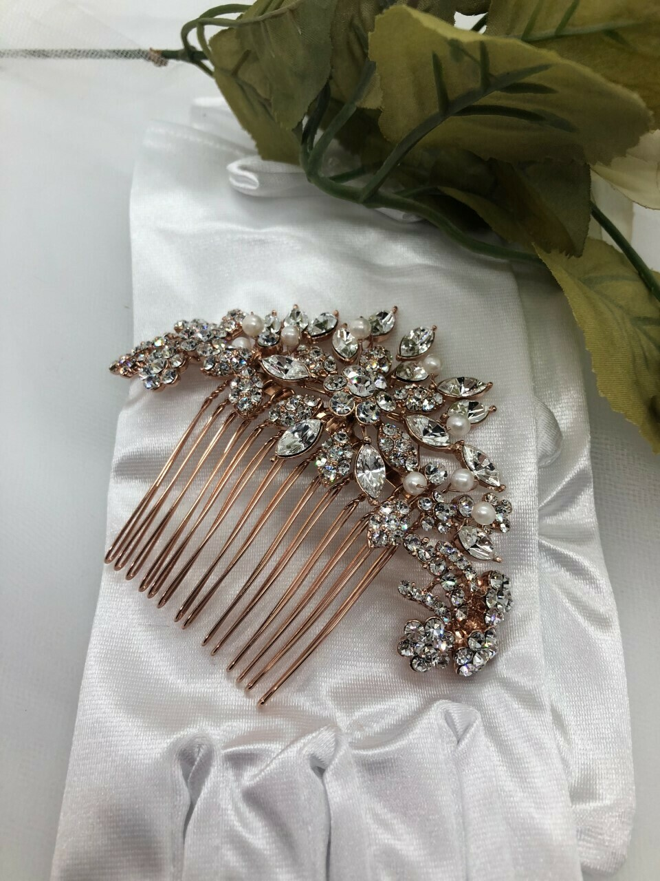 Perfect Rose Gold Crystal Pearl Hair Comb