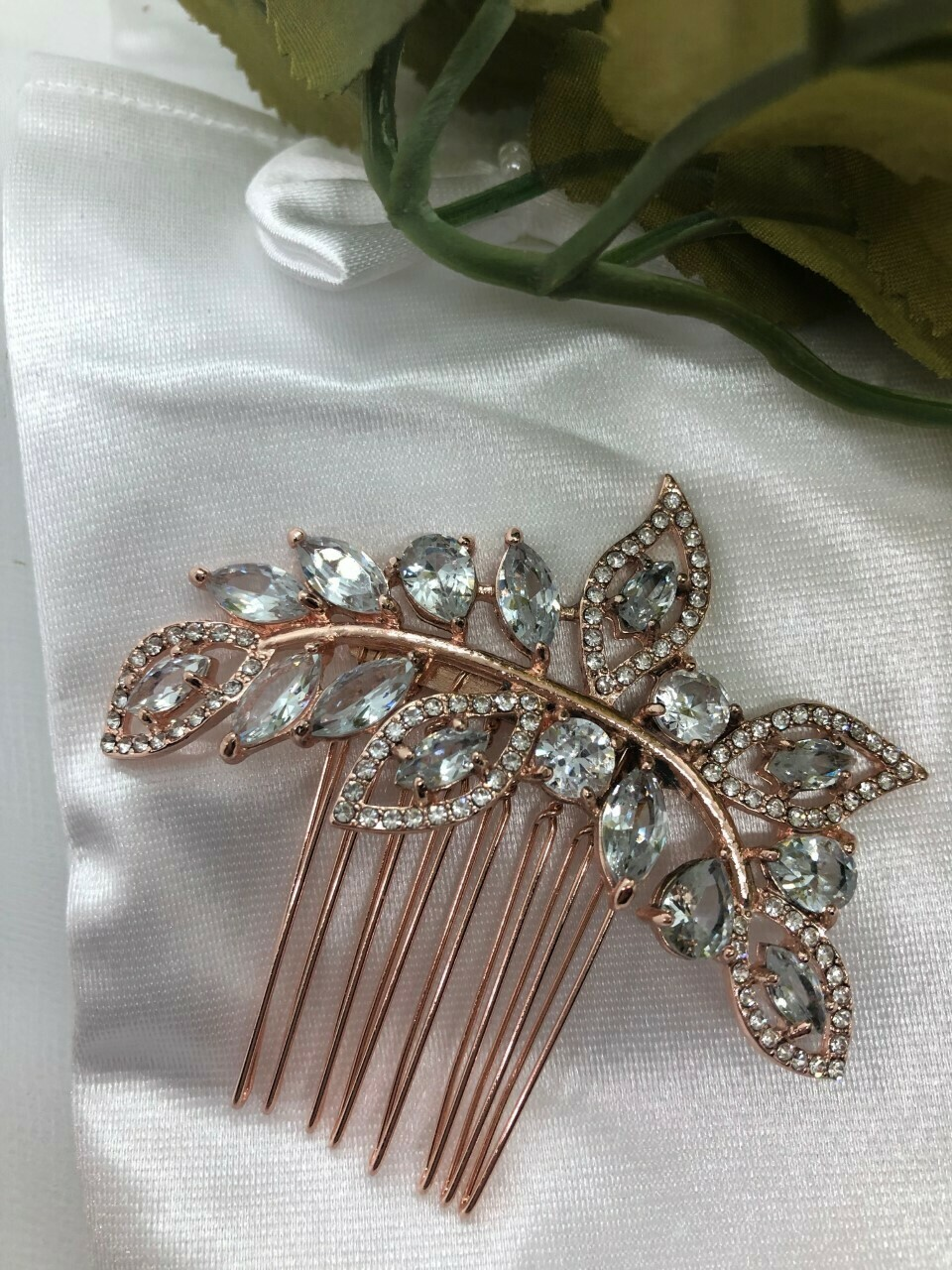 Rose Gold Marquis Leaf Small Hair Comb