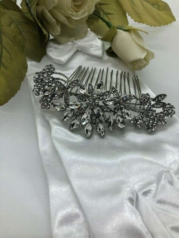 Crystal Marquis Flower Burst Silver Hair Comb