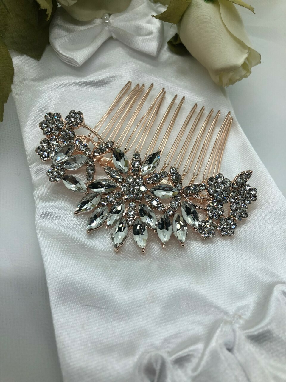 Crystal Marquis Flower Burst Rose Gold Hair Comb