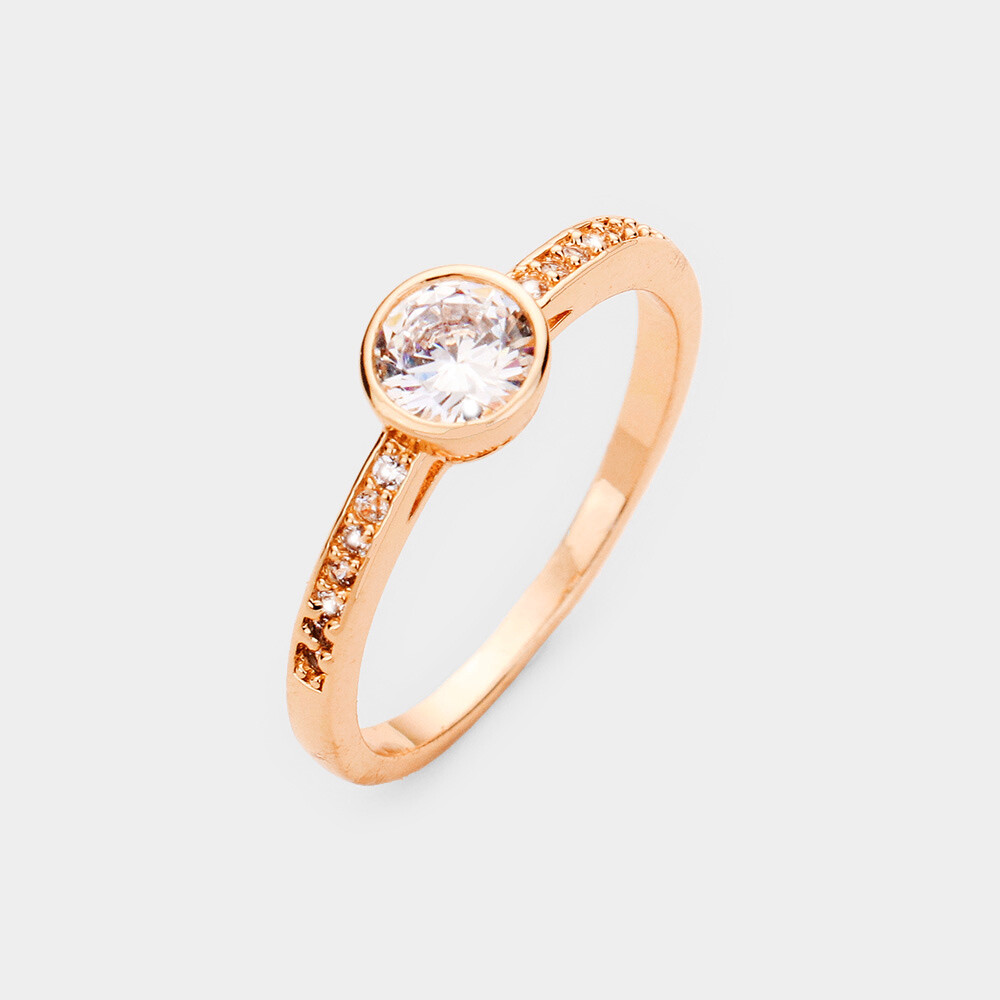 Rose Gold Plated Round CZ Delicate Ring