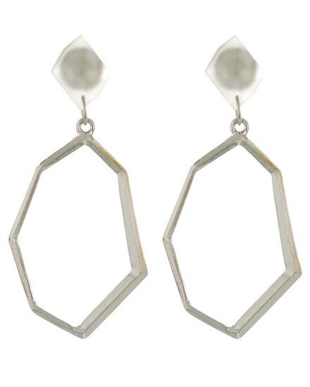 Acrylic Top Silver Wave Dangle Earring