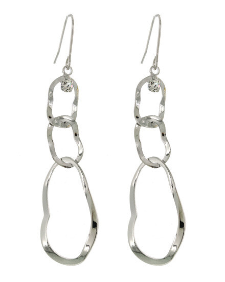 Silver Wave Open Dangle Earring Crystal Accent