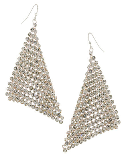 Silver Mesh Crystal Dangle Earring