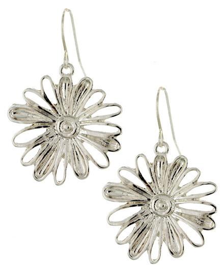 Silver Metal Dangle Flower Earring Set