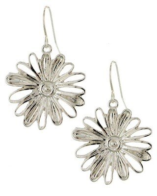Silver Metal Dangle Flower Earring Set
